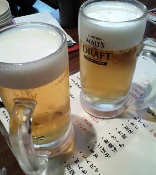 たよし 生ビール(290円)