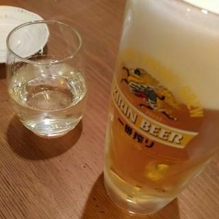 鶴亀八番 黒龍(吟醸いっちょらい)(370円 90ml) キリン一番搾り生(190円)
