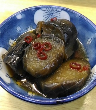 ウエダ酒店 茄子の甘辛煮(300円)