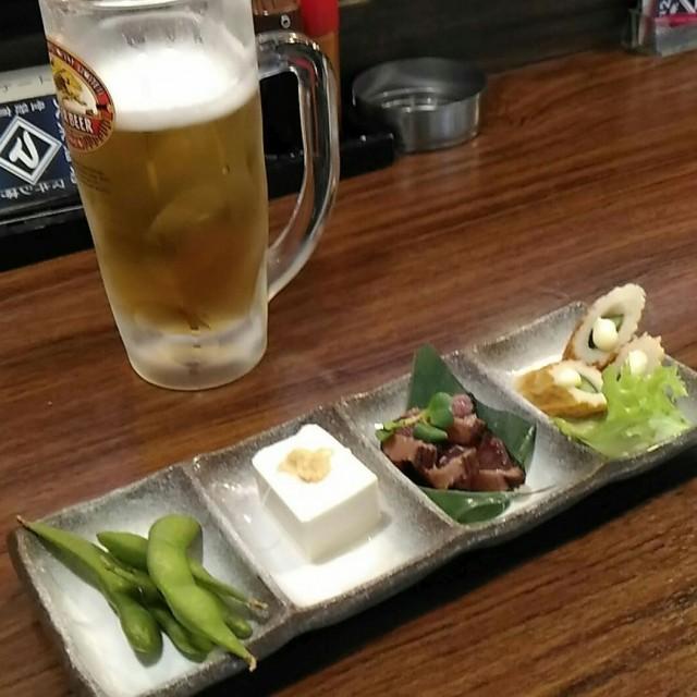 ワンコインセット(生中一杯と酒肴四点盛り)でちょい飲み「まきし亭」 居酒屋(大阪梅田)