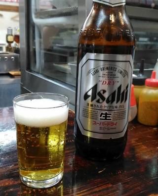酒の奥田 大瓶アサヒスーパードライ(360円)