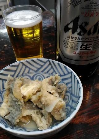 酒の奥田 小アジ南蛮(250円)とビール