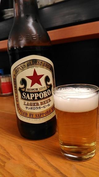 銀座家 ビール大瓶 サッポロ赤星(330円)